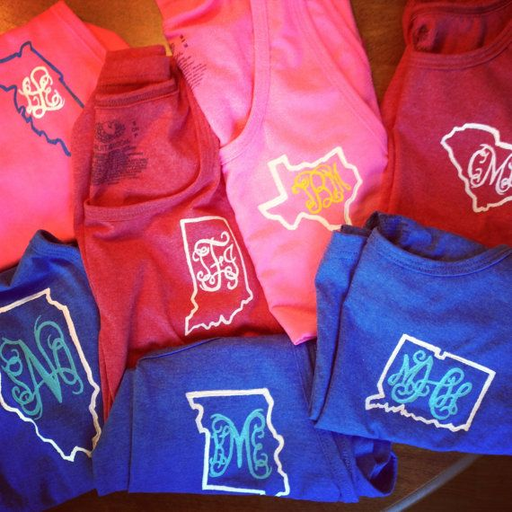 Monogram & State outline Frat Tanks. by ClawedDenim, $17.00