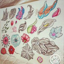 tanuki tatouage fleur