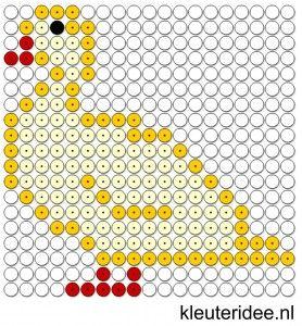 Kralenplank eend, kleuteridee.nl , thema lente  , free printable  Beads patterns preschool