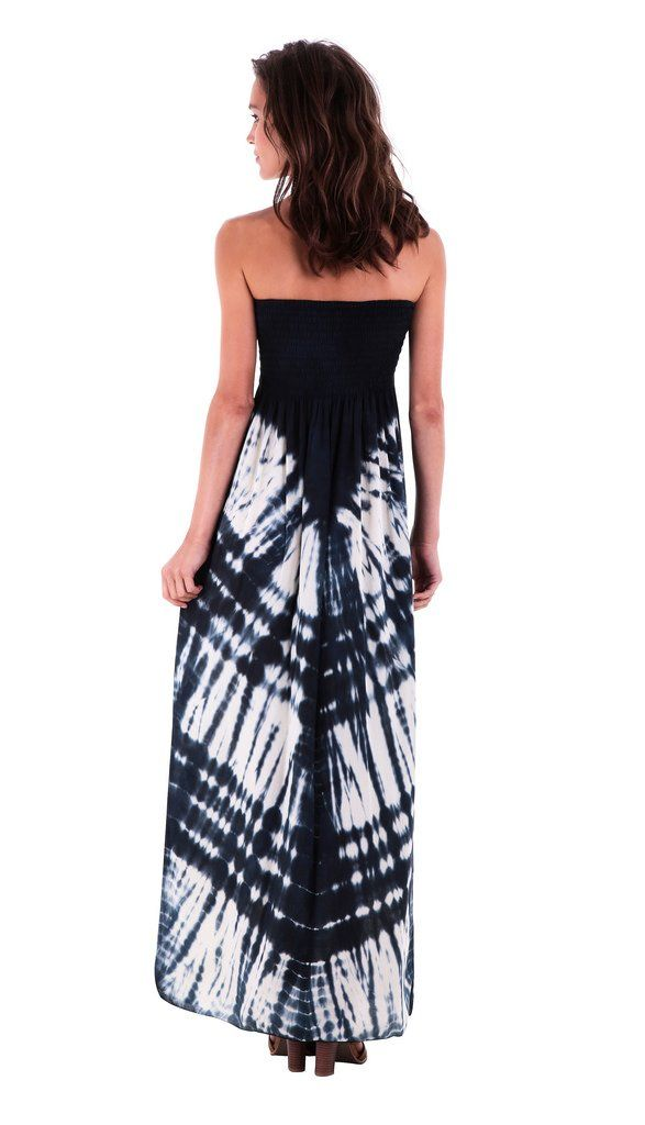 ShuShi Womens Summer Long Maxi Strapless Dress Tie Dye One Size Fits Most Navy  Blue Off White    Check out the image by visiting the link. 5f4630dd0