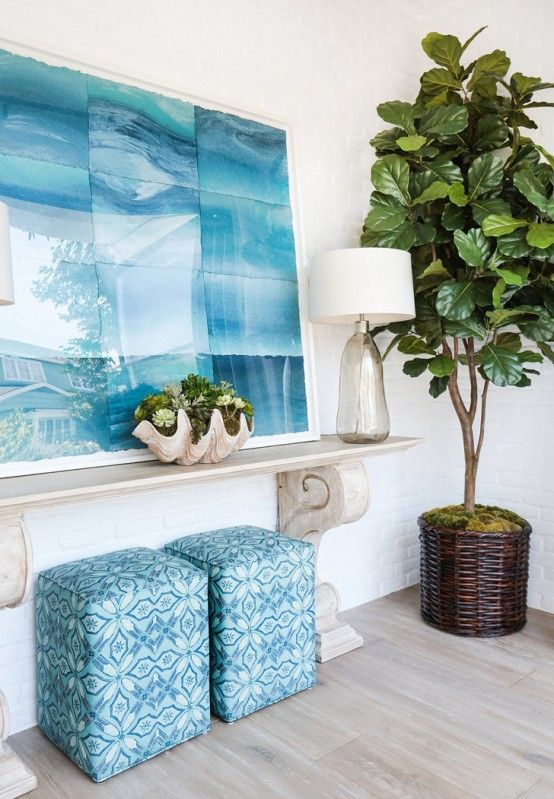 @blackbanddesign - could you share the artist who made this stunning artwork?? I Stunning Seaside Home With Turquoise Accents by Blackband Design