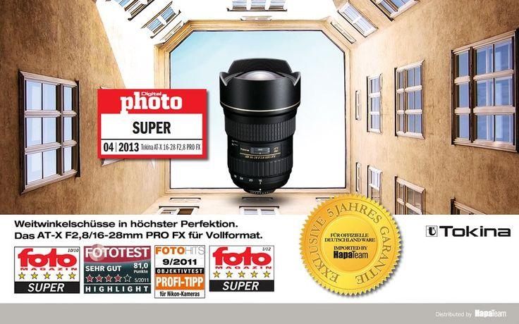 Tokina AT-X 16-28 F2.8 PRO FX  Dieses Tokina-Objektiv ist das erste einer neuen Generation von Vollformatobjektiven (FX) für professionelle Digital-SLR-Kameras wie z.B. die Canon EOS 5D Mark II oder die Nikon D700 und D3x.