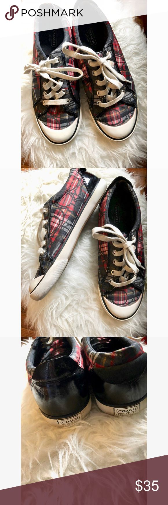 Coach Sneakers Plaid Red Black White Beautiful low top Coach Sneakers  Color: Black red white plaid  Condition: Used in good condition Size: 7 1/8 Coach Shoes Sneakers