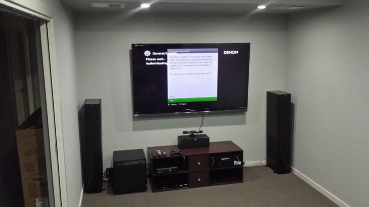 """70"""" Sharp LED LCD Theatre-Room:-  -Sharp 70″ LED LCD  -Denon AVR-X3000 Amplifier  - Jamo S608HCS10 Speaker Pack  - Heavy Duty Slimline TV Mount  - Adjustable Surround Ceiling Brackets  Fully designed and installed by the team @ Macktronix.   **Note- Visible Cable is a power cable awaiting dedicated outlet at Panel**"""