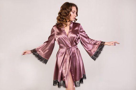 5ae13dadde Kimono robe Bridal kimono Summer robe Bride robe Satin robe Satin dressing  gown Robe with black lace