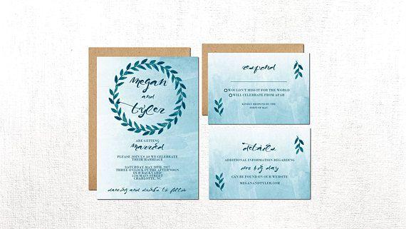 Blue Wedding Invitation Blue Watercolor Invitation Wedding