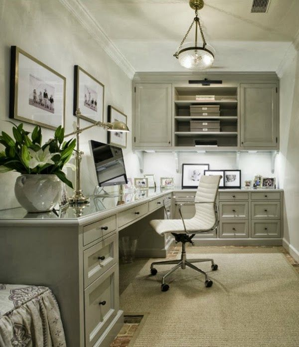 Home office in soft and neutral grey with a beachy touch of blue. Feminine decor.