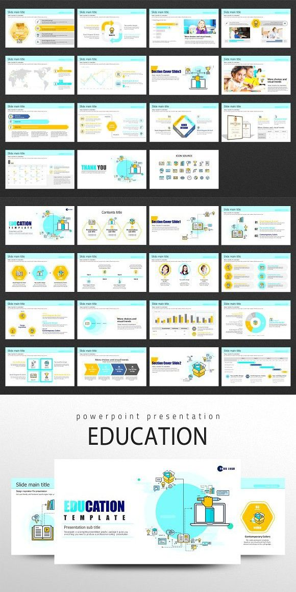 education icon ppt template brightcolors presentation templates