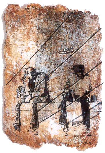 sally mankus    mixed media art on lexan - people, tennis shoe
