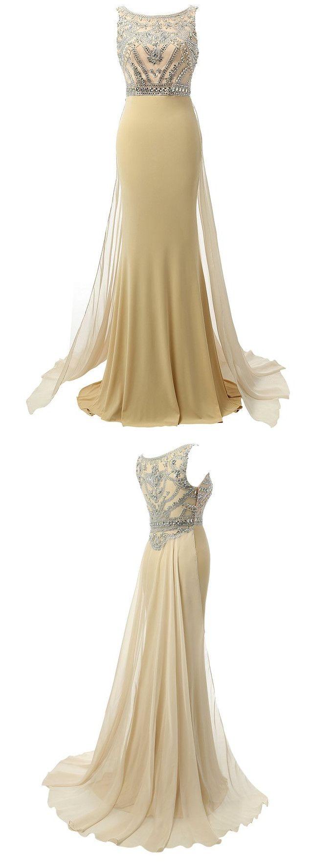 Formal Women Evening Dress Long Prom Dress, Handmade Women's Sleeveless Long Beaded Chiffon Formal Evening Prom Dresses