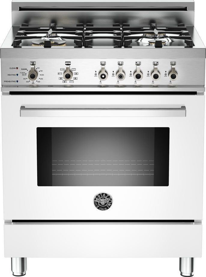 bertazzoni 30 inch prostyle dual fuel range with 4 sealed brass burners cu convection oven selfclean infrared broiler and telescopic glide shelf