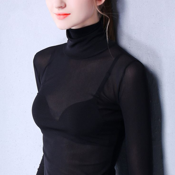 Find More T-Shirts Information about 3XLnew fashion net yarn turtleneck transparent sexy,High Quality T-Shirts from May queen fashion shop on Aliexpress.com