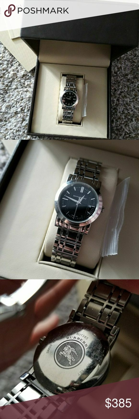 Burberry Women's Silver Watch Great used condition.  Comes with everything pictured.  Battery still works.  One link has been removed but can be or back on.  Needs a little cleaning from jeweler. TV$500 Burberry Accessories Watches
