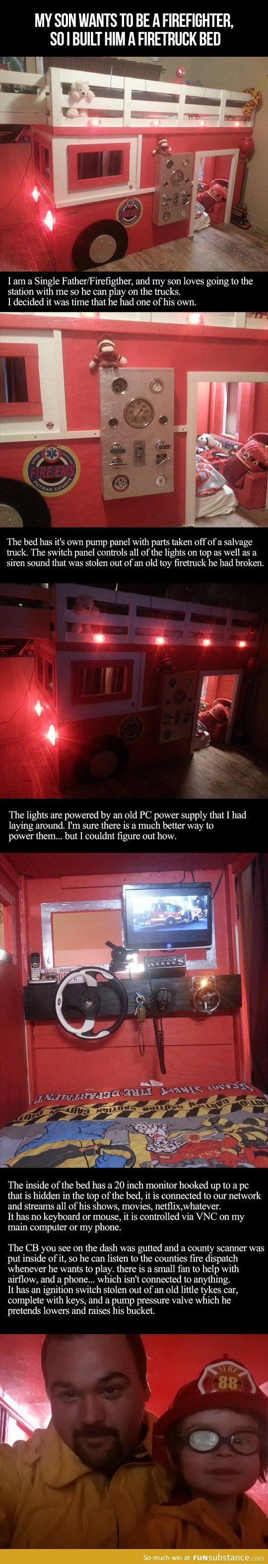 A fire truck bed