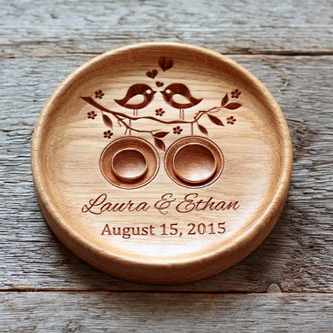 Handmade Custom Wood Wedding Ring Holder (Lovebirds), Ring Bearer Pillow Alternative, Ring Plate, Ring Dish - Eleturtle