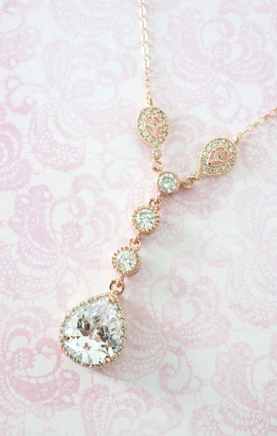 Rose Gold Cubic Zirconia Teardrop Necklace - Vintage style Necklace, rose gold filled chain, bridal gifts, drop, dangle, bridesmaid necklace, blush weddings, pink weddings, rose gold weddings, bridesmaid necklace, bridal shower gifts, www.colormemissy.com