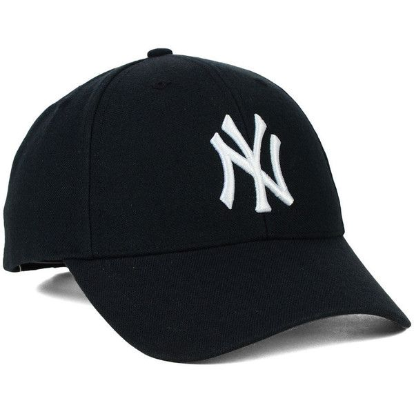 New York Yankees '47 MLB Curved '47 MVP Cap ❤ liked on Polyvore featuring accessories, hats, yankees cap, embroidered caps, ny yankees hat, tall hat and embroidered hats