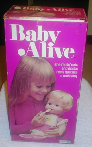 Baby Alive. My mom thought I was too old for dolls and bought this for my step-sister. She soon became mine. :)