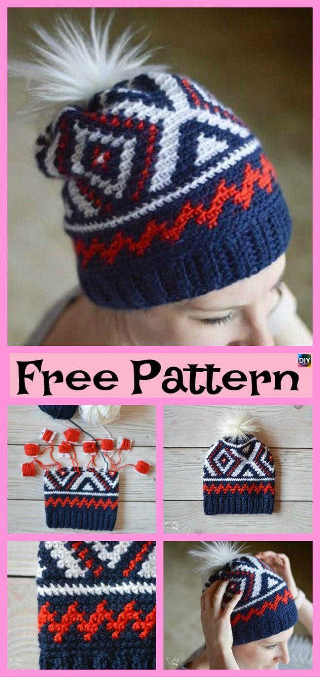 Unique Crochet Chevron Hat Free Patterns Huivit Ja Myssyt