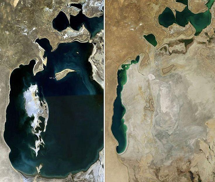 Die Nasa veröffentlicht immer wieder Satellitenaufnahmen der Erde — oft mit einer ganz bestimmten Intention: Sie sollen zeigen, wie verheerend der Mensch die Umwelt zugrunde richtet. Um die Welt gingen etwa zwei Bilder des Aralsees, die zeigen, wie er zwischen 1989 und 2014 fast vollständig ausgetrocknet ist. Weniger bekannt ist die Nasa-Satellitenaufnahme des Lop-Nor-Sees — oder besser gesagt: was davon übrig geblieben ist.