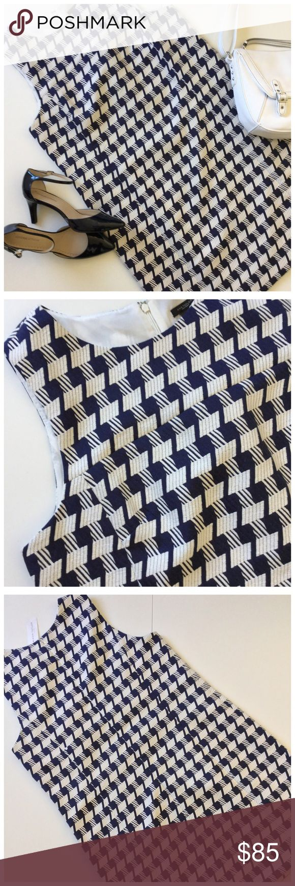 """🆕 Ann Taylor Dress NWT Pretty textured weave blue and white fabric in a geo patter. Sleeveless. Seaming & darts for shape but not clingy. Fully lined. Concealed back zipper. Great with a yellow or red sweater or jacket for Spring and on its own in Summer. 42"""" bust. 42"""" waist. 46"""" hip. 37"""" length from shoulder. New with tags. Bag available in separate listing. Shoes available soon. Ann Taylor Factory Dresses"""