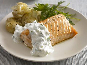 "Cucumber yogurt & dill sauce: ""Baked Salmon with Cucumber Dill Sauce..."