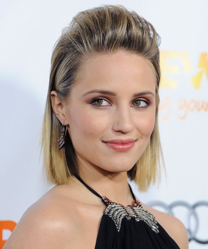Pin for Later: These Half-Up Hairstyles Give You the Best of Both Worlds Dianna Agron For a more edgy look, add product to the sides to slick them down, and backcomb the front section before pulling it back.