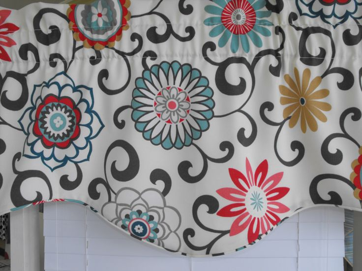 Window valance, gray, charcoal gray, teal, red, orange, window treatment valance, window treatment, curtains, valance floral valance by LaTeDaWindows on Etsy https://www.etsy.com/listing/187984213/window-valance-gray-charcoal-gray-teal