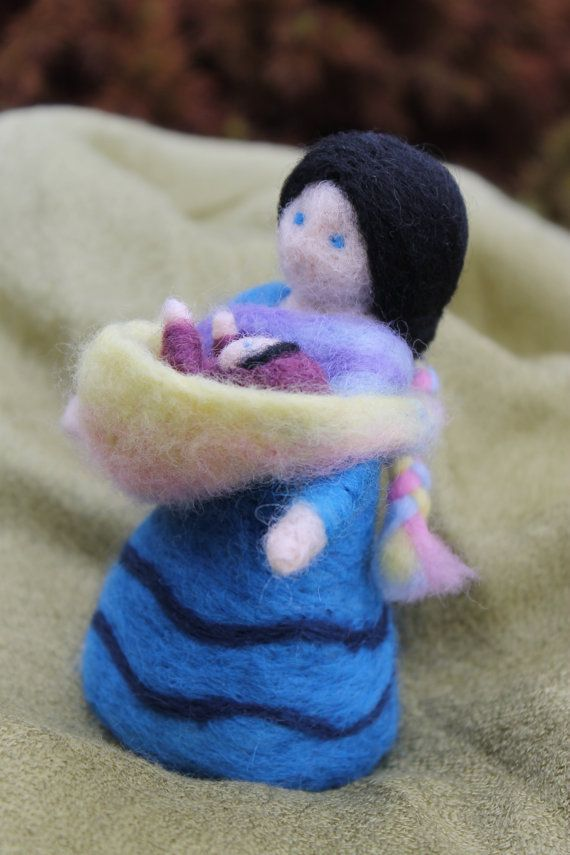 Needle felted Mother and Baby with sling Waldorf by JensFeltedJems, $35.00