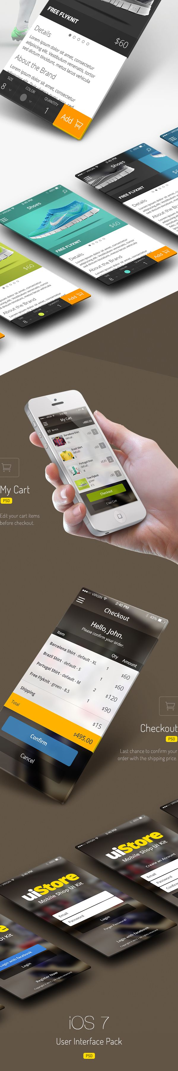 uiStore » iOS7 UI Kit by Rodrigo Santino, via Behance