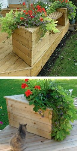 Planter bench for deck -- ideas for excess deck boards - rugged-life.com