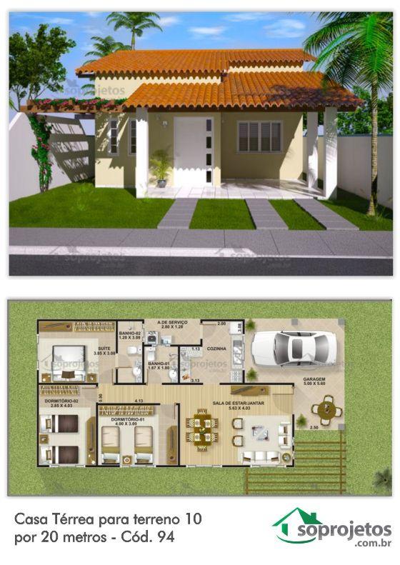 25 melhores ideias de projetos de casas terreas no for Modelos de sala de casa