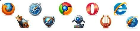 There are total 10 browser icons in 16,32,64,128px sizes. They come in PNG format. Web Browsers Icon Set includes Chrome, Firefox, Safari, Opera and Internet Explorer browser icons in both professional and fun style. Call us on  91-08655855884 or email on at mailto:sales@clic...