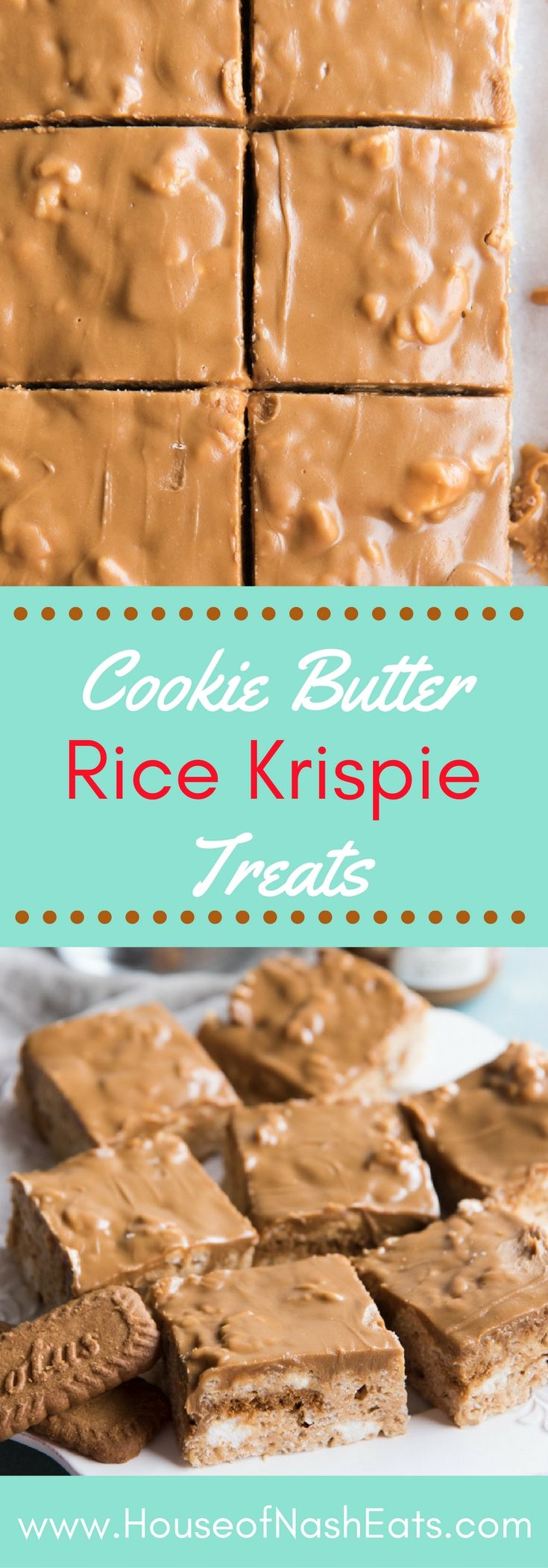 These Cookie Butter Rice Krispie Treats take a simple, basic rice krispie treat to a whole other level with actual chunks of Biscoff cookies and cookie butter mixed into the marshmallow rice krispie base, and a layer of cookie butter glaze over the top! Perfect for bake sales, potlucks, picnics, holidays, and more!