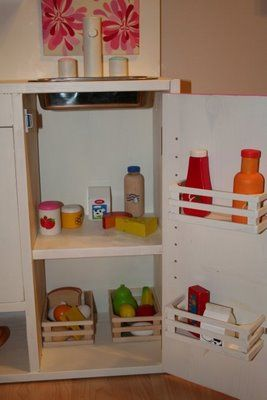 Could use the IKEA Bekvam spice racks as the fridge shelves in a Duktig play kitchen