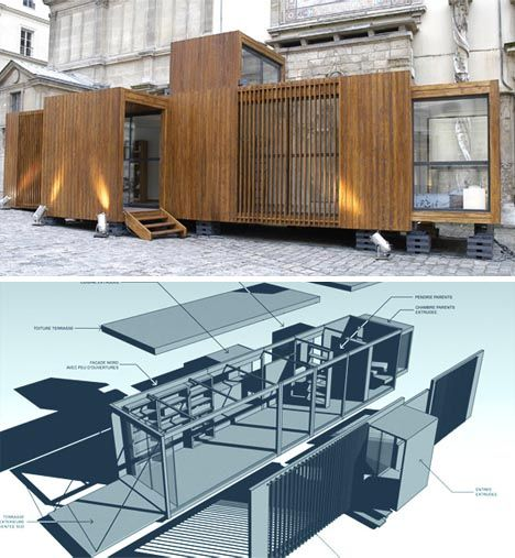 While this wooden prefab structure does collapse into a cargo container-sized unit for portability, once shipped it barely resembles its origins. In fact, with volumetric extensions at well-chosed intervals and a facade with varying visual rhythms and physical textures, the Drop House looks very much like any high-quality, site-specific modern wood-and-glass home might.    The interior tells a similar story. The static, continuous lines of the original linear box form are broken up by…