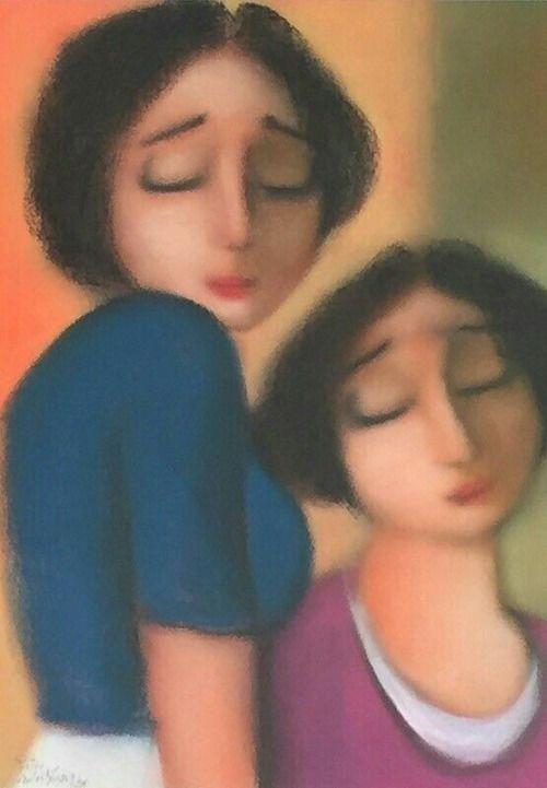 """Sisters"" ~ Pastel by Pieter van der westhuizen (1931-2008), South African Artist ...."