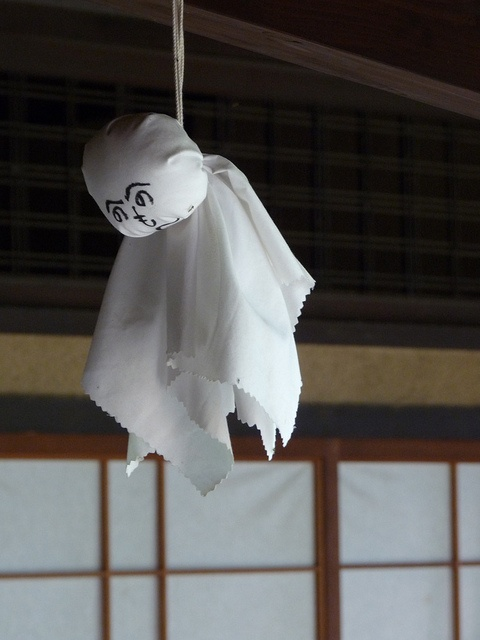 """Teru Teru Bozu: Teru Teru Bozu literally means """"shine, shine shaven-head"""" and is a lucky charm depiciting Buddhist monks praying for good weather. Many children in Japan often make them on rainy days and hang them up to wish for better weather. ---------- #japan #japanese"""