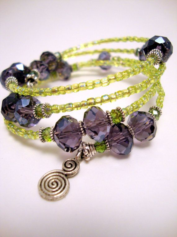 Purple and Green Crystal Memory Wire Bracelet Lime by ABeadifulDay