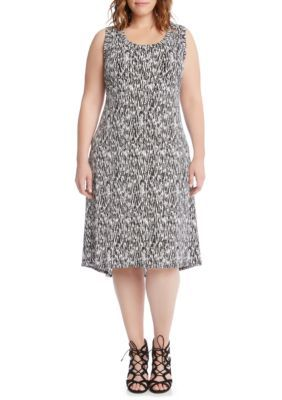Karen Kane Women's Plus Size High-Low Hem Dress - Printed Multi - 2X