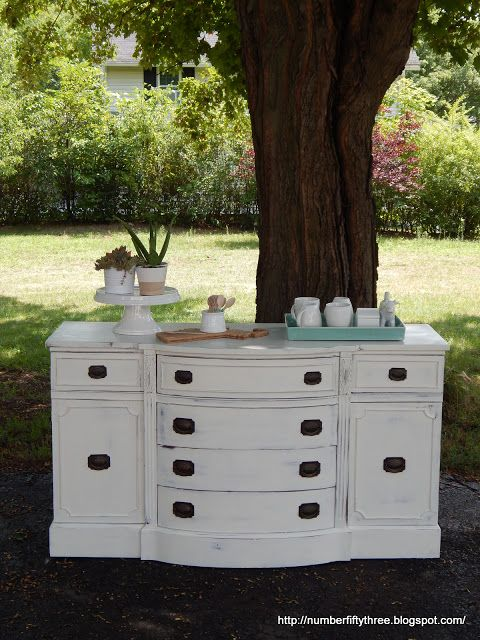 Number Fifty-Three: Antique White Distressed Sideboard