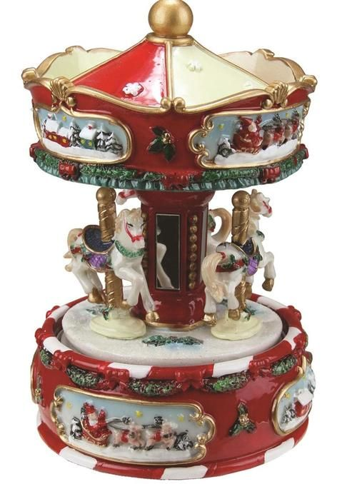 """6.25"""""""" Animated Musical Carousel with Canopy and 3-Horses Christmas Music Box"""