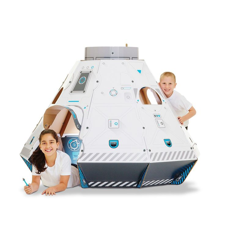 Construct a four-foot cosmic cruiser with this cardboard playhouse kit.