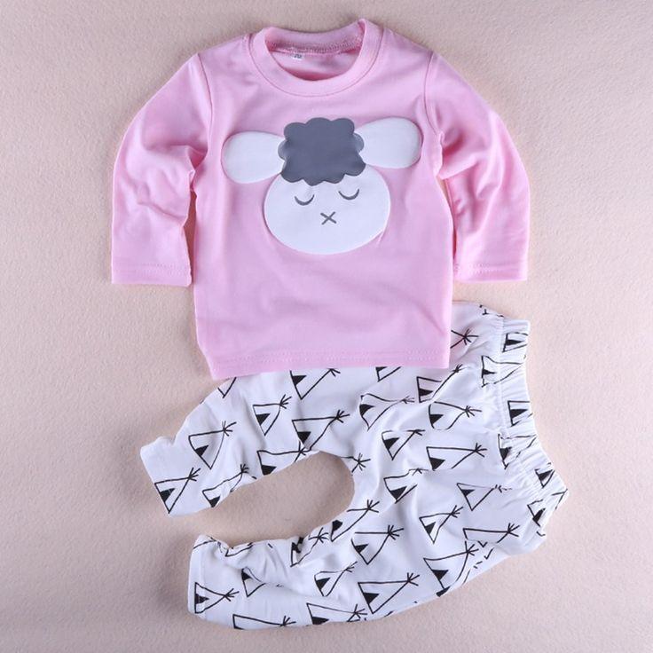 Baru lucu bayi gadis kecil pakaian katun bayi gadis set pakaian lengan panjang dicetak t-shirt + celana 2 pcs set R1111