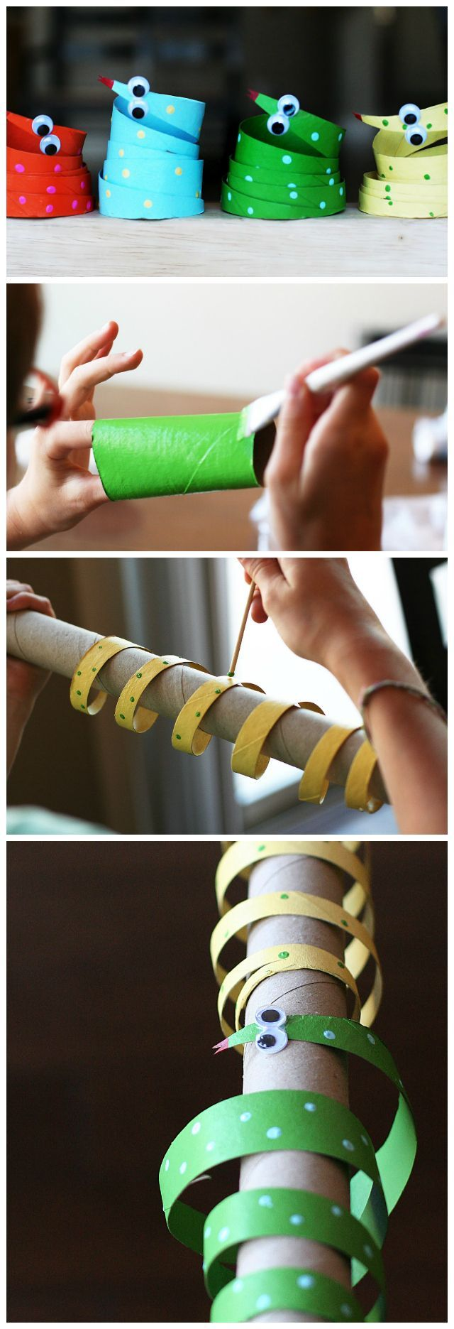 Schlange aus Klopapierrollen - Toilet paper snake craft for kids