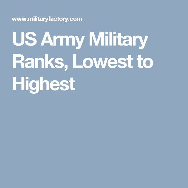 US Army Military Ranks, Lowest to Highest