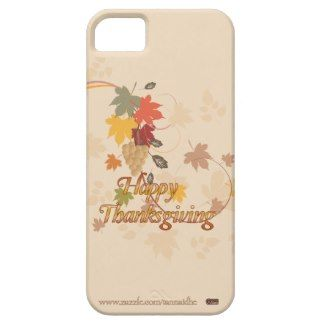 Happy Thanksgiving - Leaves, Grapes and Ribbons iPhone 5 Cases