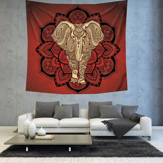 Red Bohemian elephant Mandala wall tapestry by Christinedecorshop