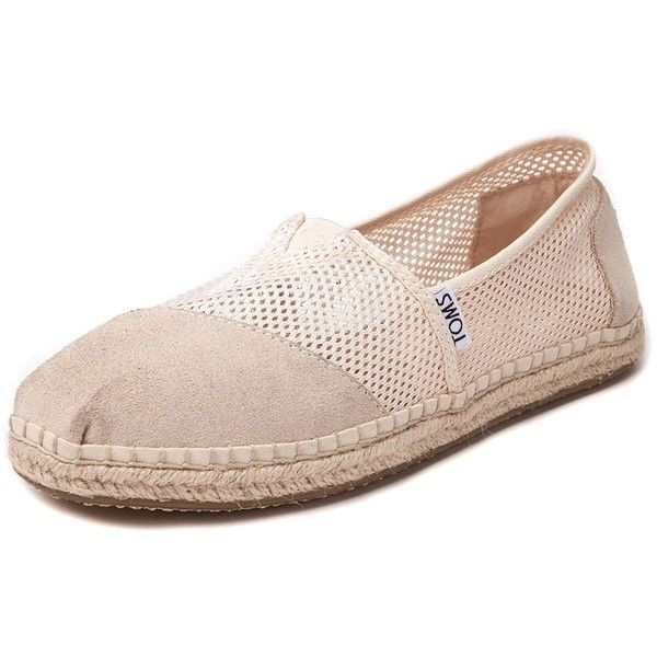 Womens TOMS Classic Mesh Espadrille Casual Shoe (1,725 MXN) ❤ liked on Polyvore featuring shoes, espadrilles shoes, toms espadrilles, toms shoes, stitch shoes and toms footwear