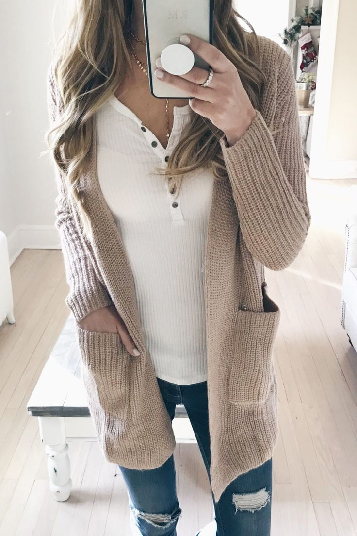 cyber week 2017 sweaters on sale - blush wide knit cardigan over white henley